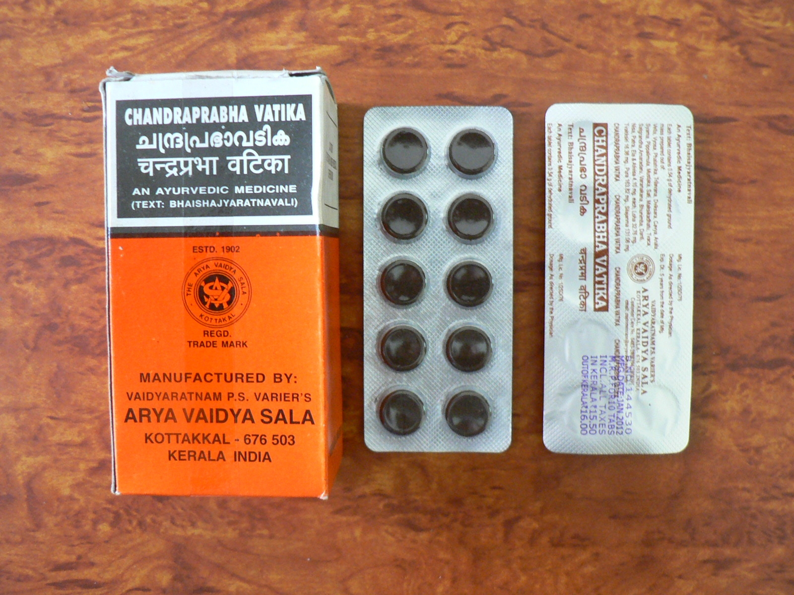 <b>CHANDRAPRABHA VATIKA</B><BR>AVS - 1 blister of 10 tablets
